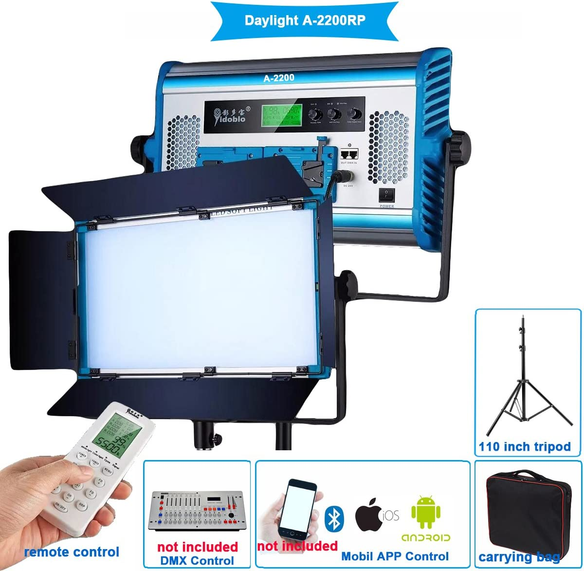 Yidoblo Daylight LED Soft Video Light Panel 5500K Dimmable by DMX//Phone App//Remote Controller with Barndoor//Carrying Bag,Continuous Lighting for Photo Studio Video Film