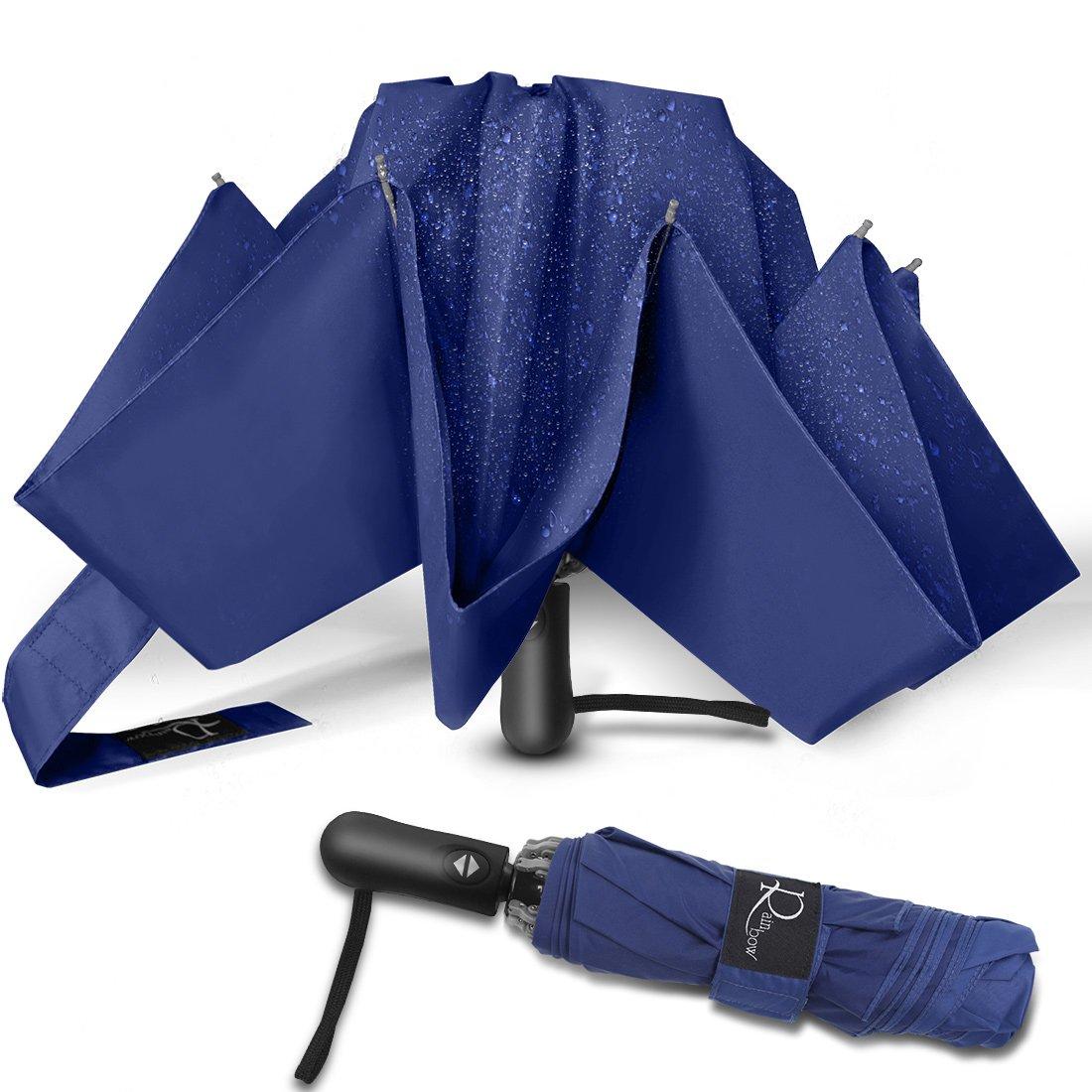 Nesus Umbrella Windproof Travel Umbrella 8 Ribs Auto Open Close with Waterproof Canopy Compact Folding Reverse Umbrella(Blue) by Nesus