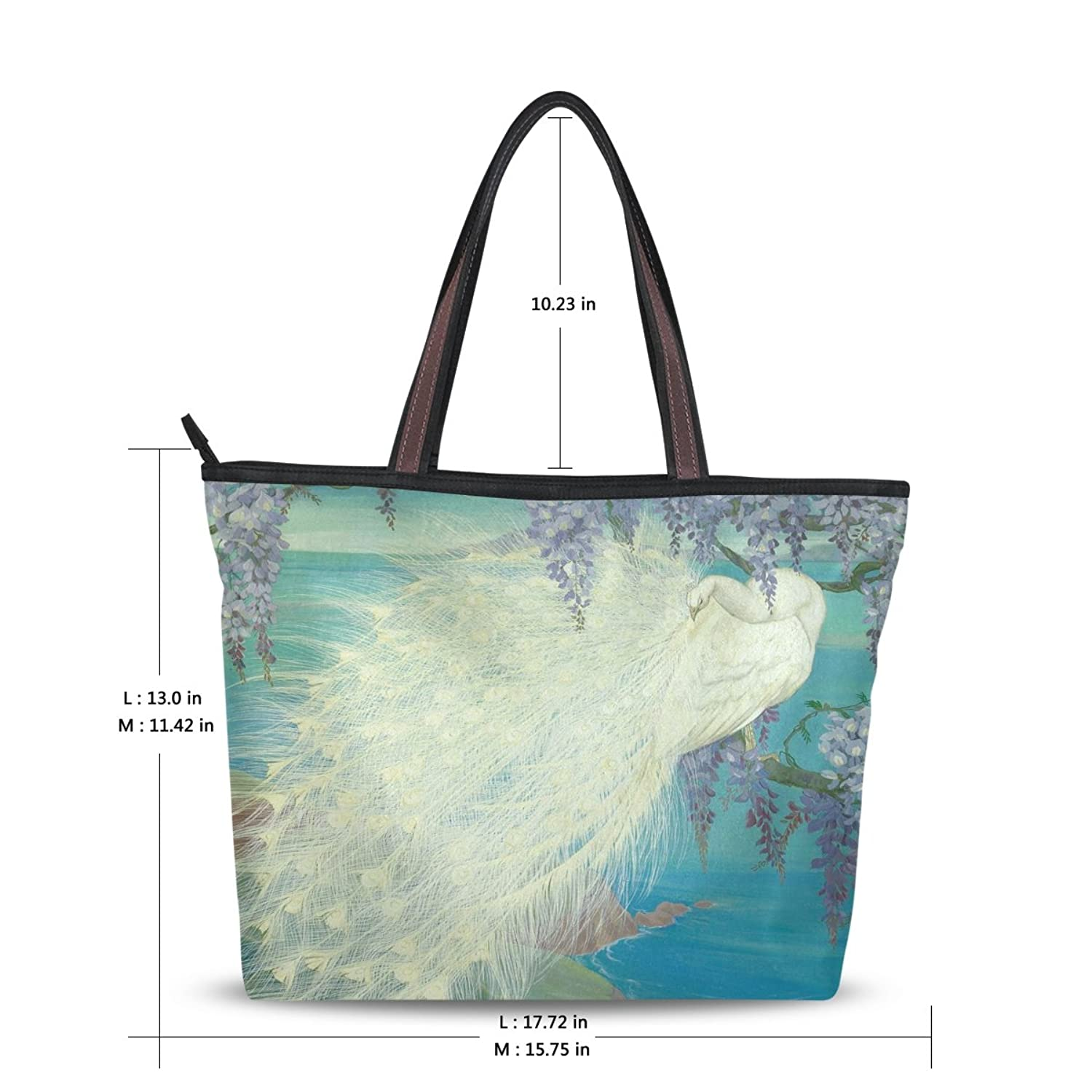 WHBAG Lightweight Handbag For Women,Art Elegant White Peacock,Shoulder Tote Bag