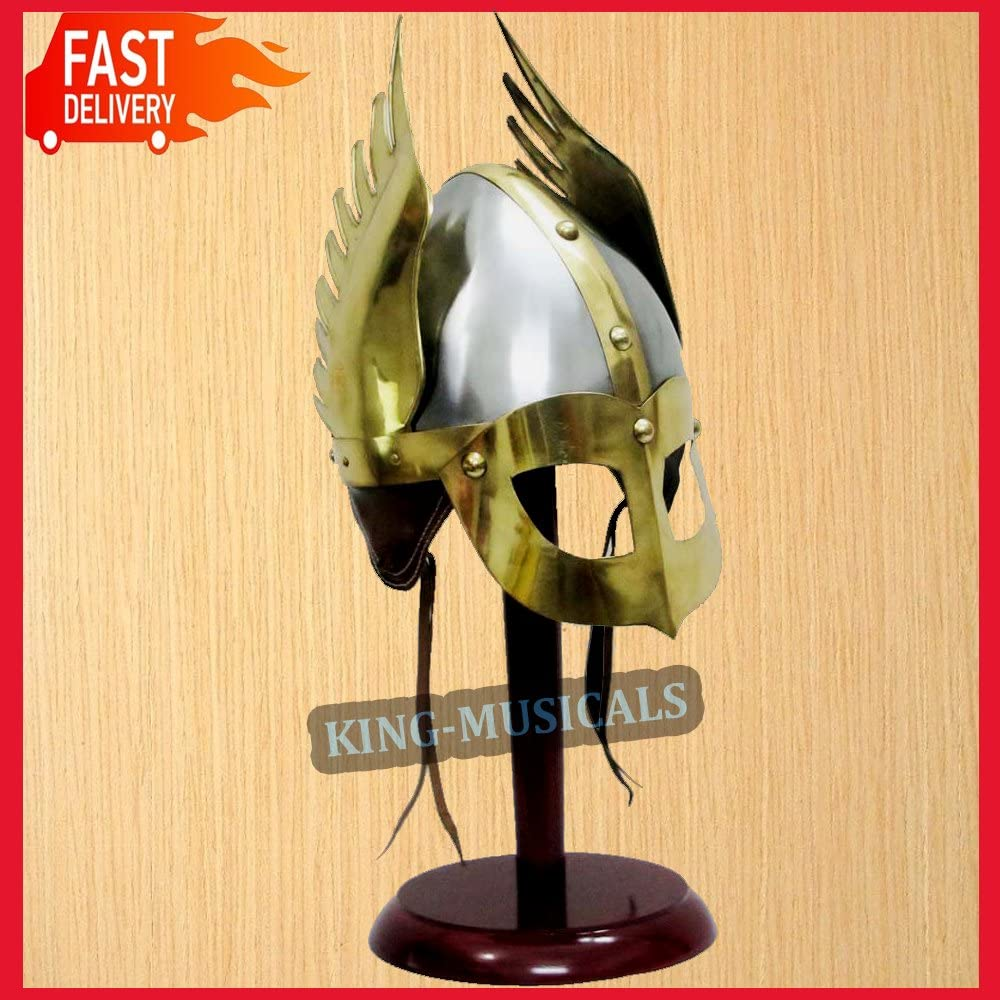 Ancient Medieval Norman Viking Winged Helmet King Helm Fully Wearable w/ Liner