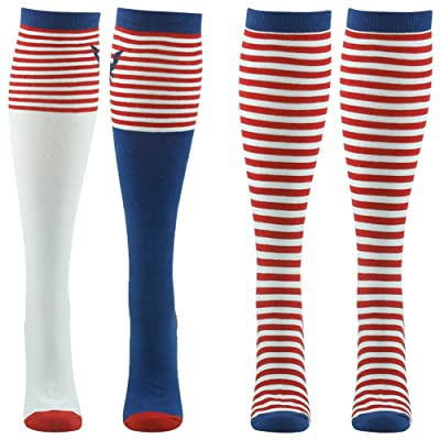 American Flag Socks, Gmall Stars and Stripes Mismatched Patriotic Knee High Socks for Men and Women