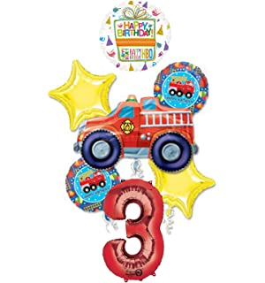 Mayflower Products Fire Truck Engine 3rd Birthday Party Supplies And Balloon Decorations