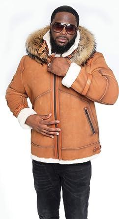 BIG SALE B3 Dark Brown Leather Jacket Real Sheep Hide Fur Bomber Jacket