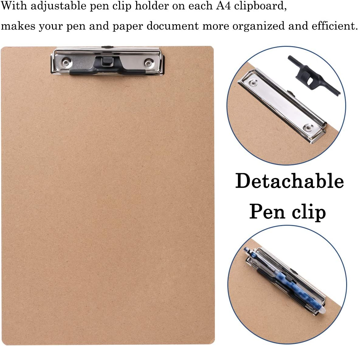 Set of 6 A4 Letter Size Clipboard with Pen Holder and Hanging Hook Low Profile Document Clip Writing Painting Hardboard for School Office Work Classroom Restaurant JAKAGO