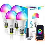 4Pack Lâmpada LED Inteligente XUELILI,Smart Lâmpada de Led Bulbo Bivolt,Compatível com Alexa e Google Home,A19-9W, RGB+CW, 27