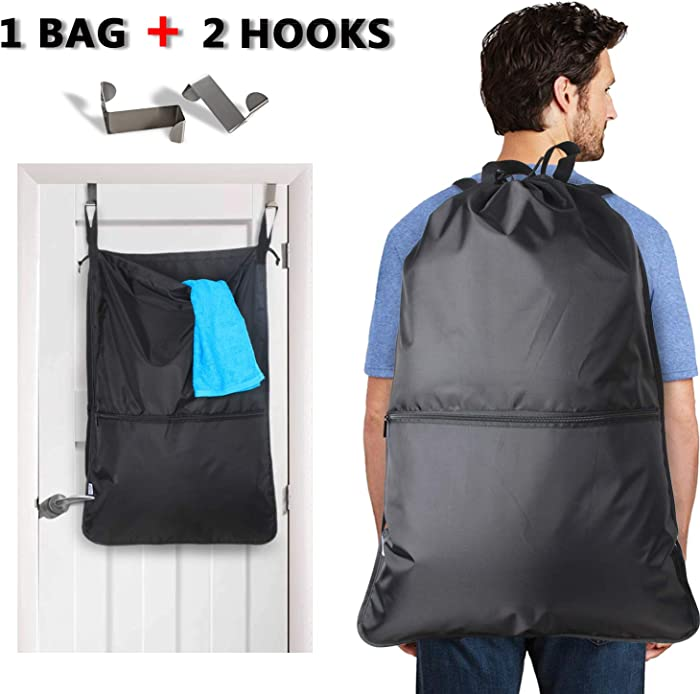 LUXJA Laundry Backpack, Laundry Bag with Extra Stainless Steel Door Hooks and Shoulder Straps, Black