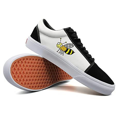 7f94b1653739af Amazon.com  Woman Happy Bee Canvas Sneaker Low Sneaker Shoes  Sports    Outdoors