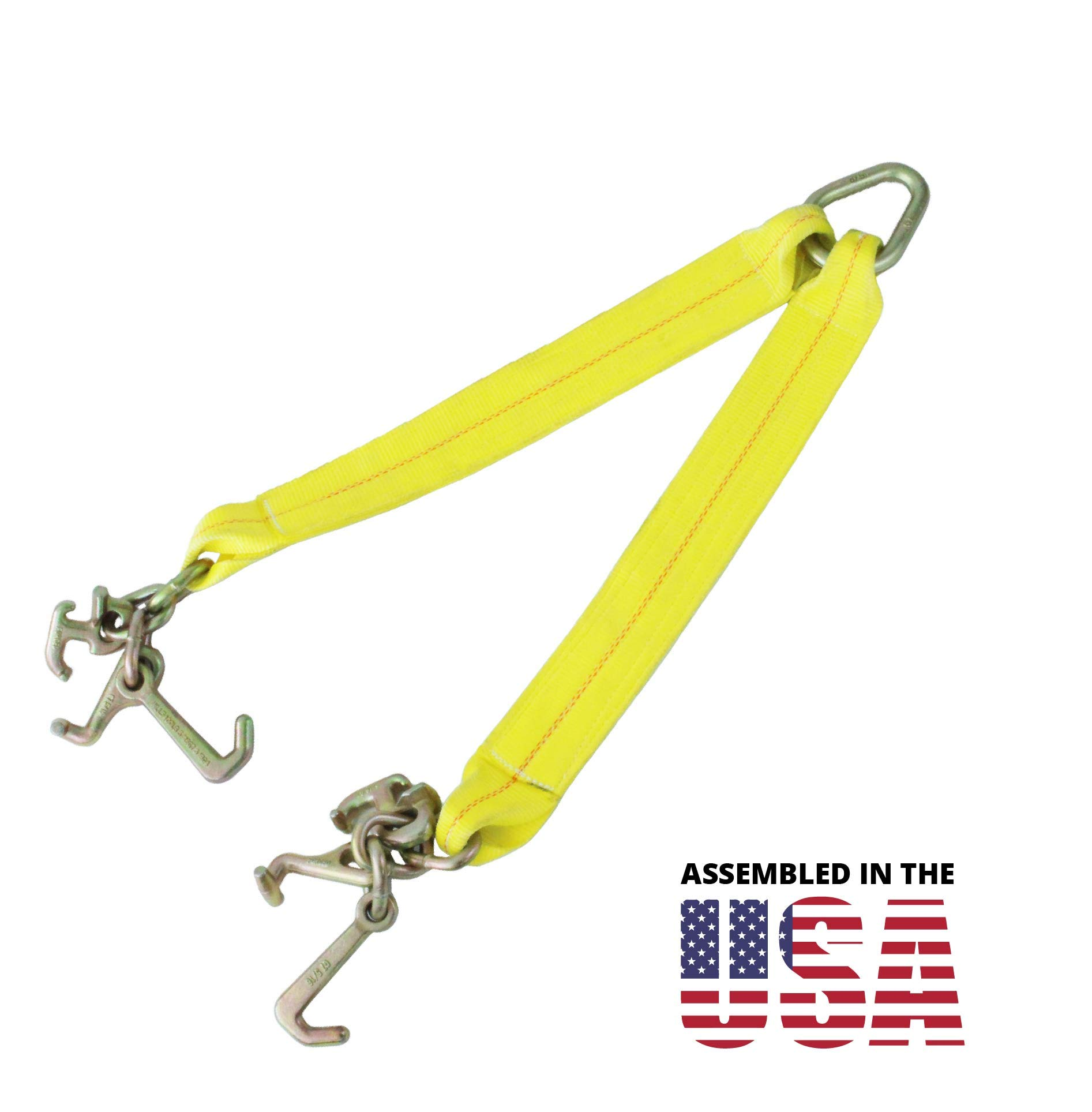 Boxer Tools Tow Strap V Bridle with Cluster RTJ Hooks, Assembled in The USA