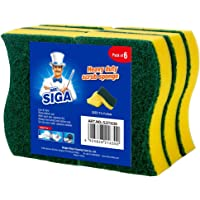 "MR.SIGA Heavy Duty Scrub Sponge, Pack of 6, Size:11 x 7 x 3 cm, 4.3"" x 2.8"" x 1.2"""