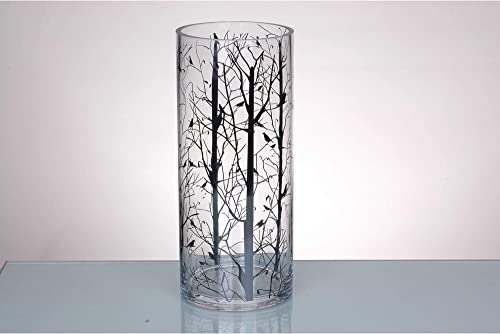 CC Home Furnishings 14 Clear Cylindrical Glass Vase with Printed Branches Design