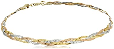 6b3c8814b9474 Kooljewelry 10k Tricolor Gold 3.4mm Braided Herringbone Bracelet (7.5 inch)