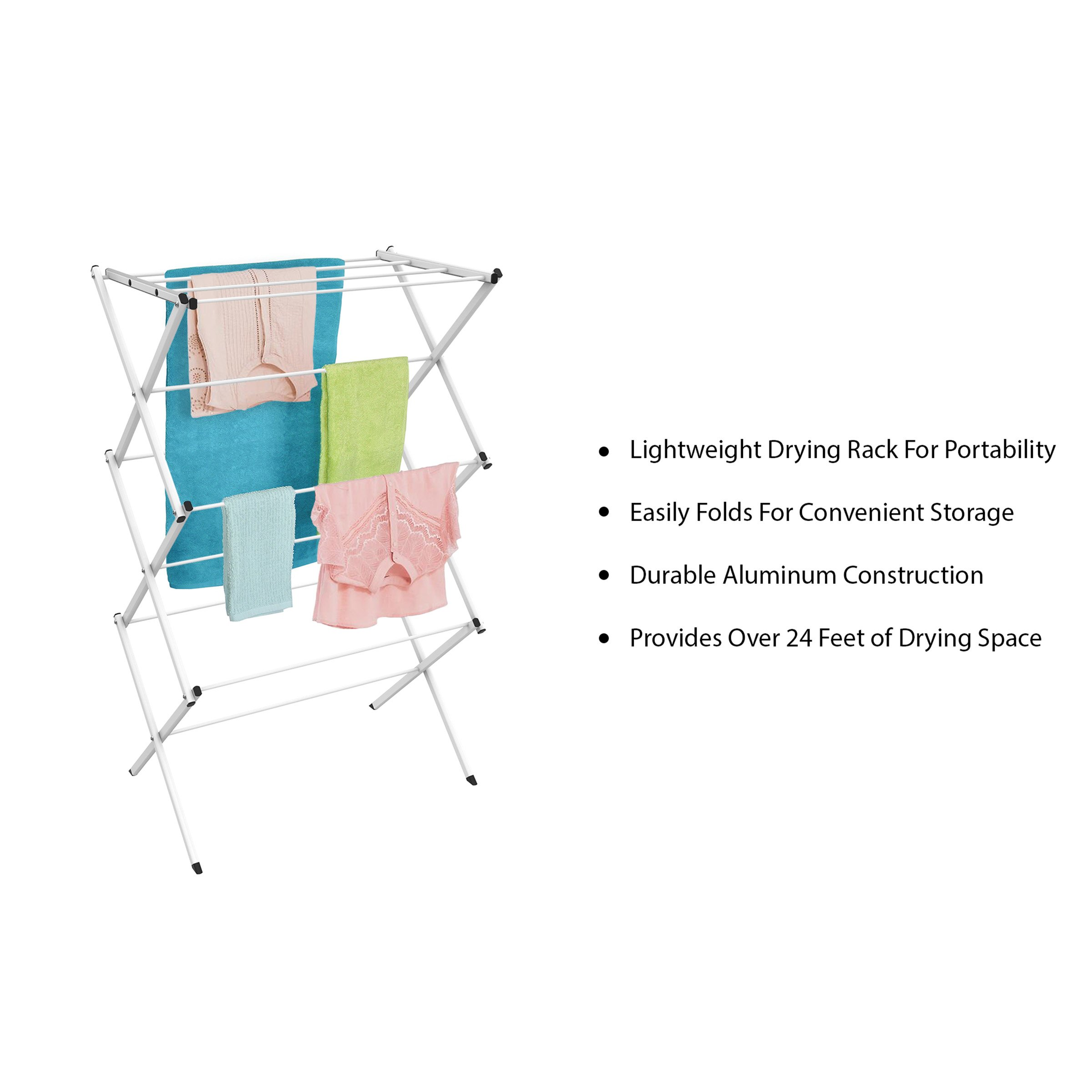 Lavish Home Clothes Drying Rack-24ft. of Drying Space-Collapsible and Compact for Indoor/Outdoor Use-Portable Stand for Hanging, Air-Drying Laundry by Lavish Home (Image #3)