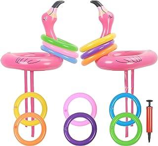 KATOOM 2Set Ringwurfspiel Aufblasbare Flamingo Wurfspiel Outdoor Indoor Eltern Kinder Spiele Pool Spielzeug Partyhüte mit 12 Ringe und 1 Luftpumpe für Sommer Party Geburtstag Hochzeit