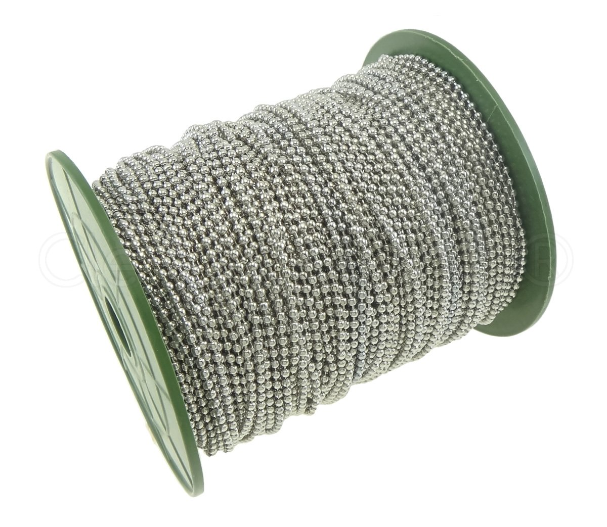 CleverDelights Ball Chain Spool - 330 Feet - Platinum (Antique Silver) Color - 2.4mm Ball - #3 Size by CleverDelights