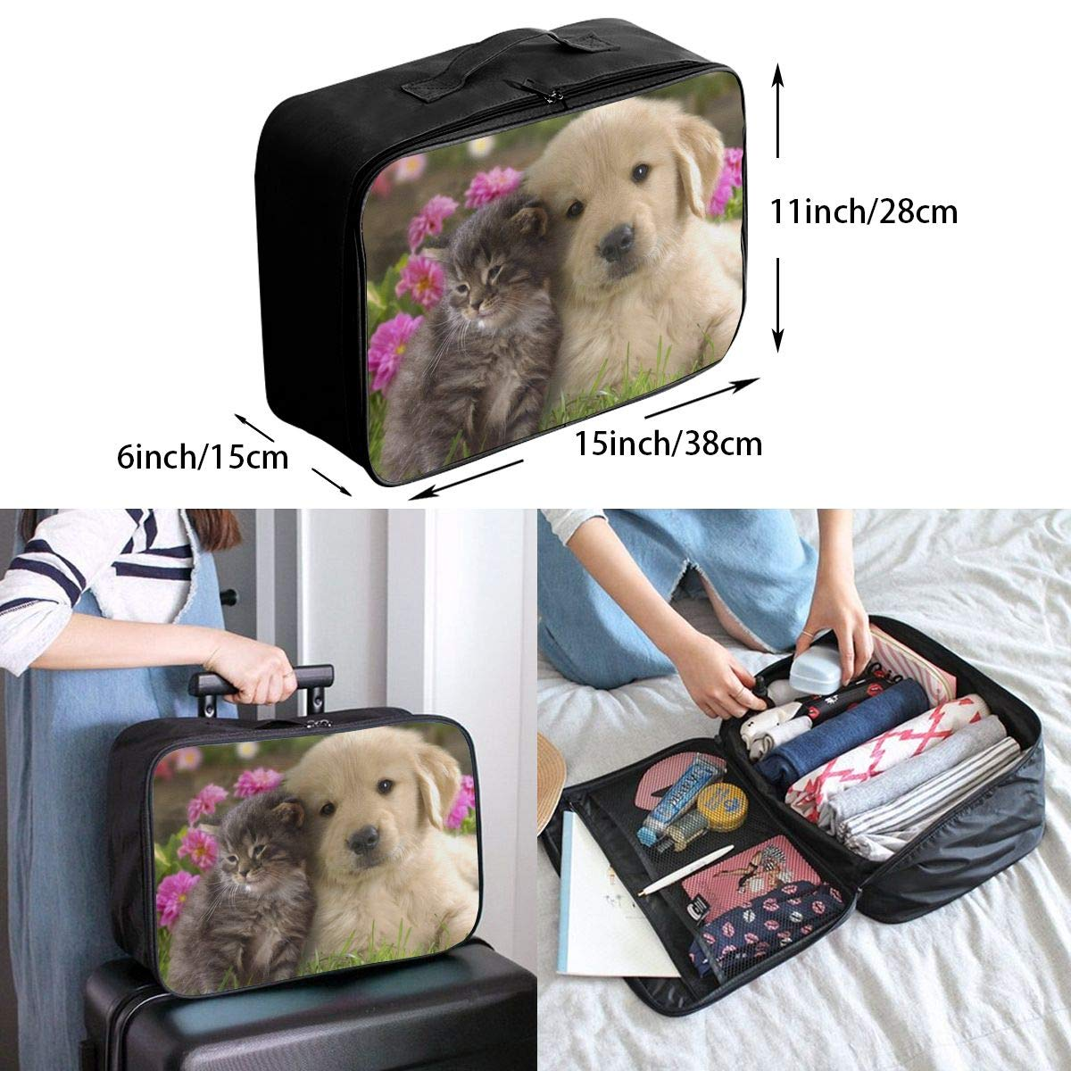 STWINW Cute Cat and Dog Hug Travel Fashion Lightweight Large Capacity Portable Waterproof Foldable Storage Carry Luggage Bag Luggage Duffle Tote Bag Hanging Travel Toiletry Bag Travel Makeup Bag