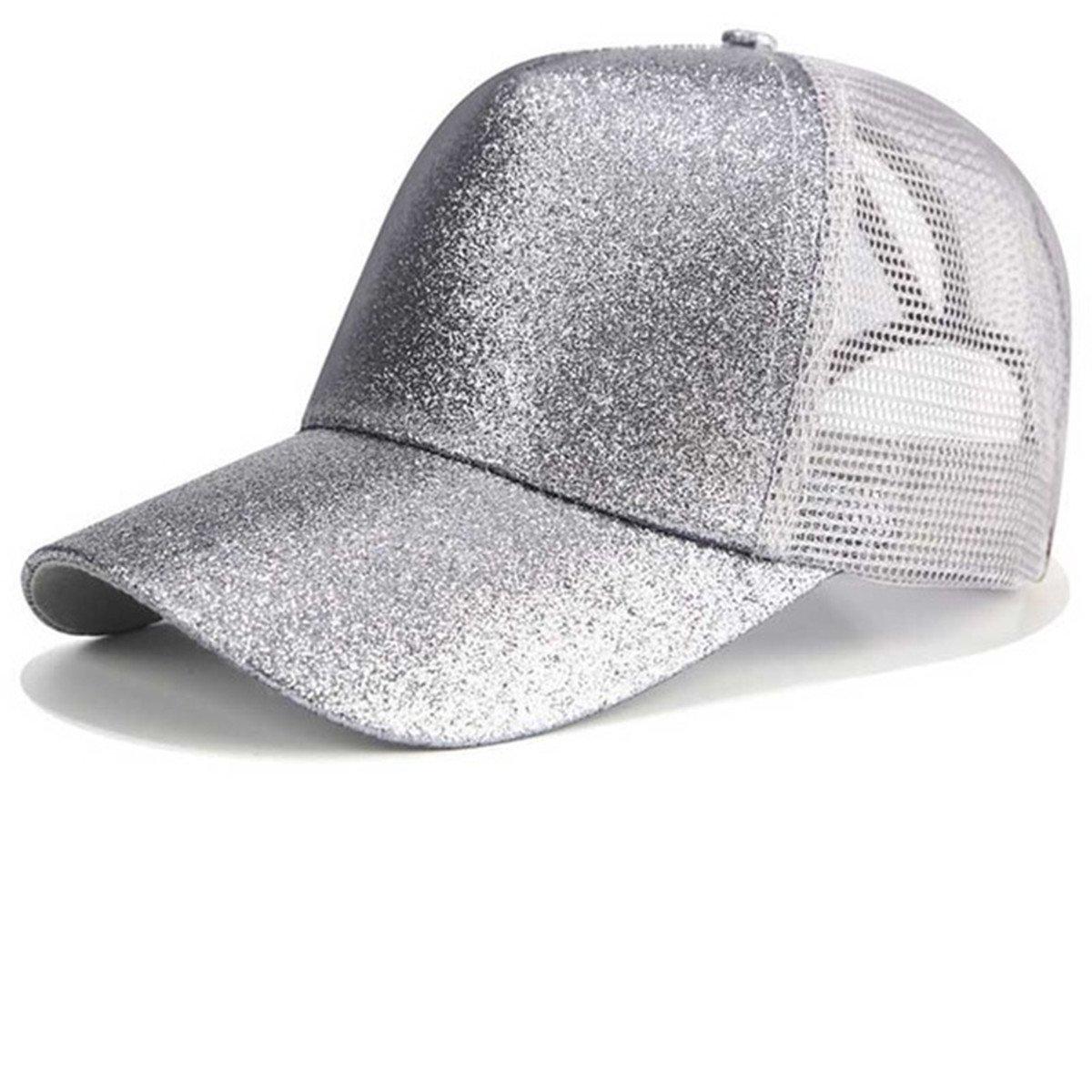 D Symphony Visor Cap, Summer Glither Ponytail Cap Mesh Hats Casual Adjustable Sport Caps Baseball Cap for Women Girls DWE Visor Cap