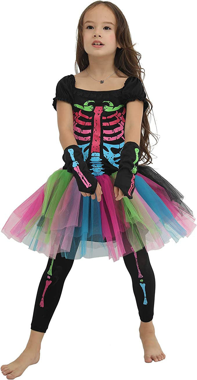 EraSpooky Chicas Miedoso Punky Huesos Disfraz: Amazon.es: Ropa y ...