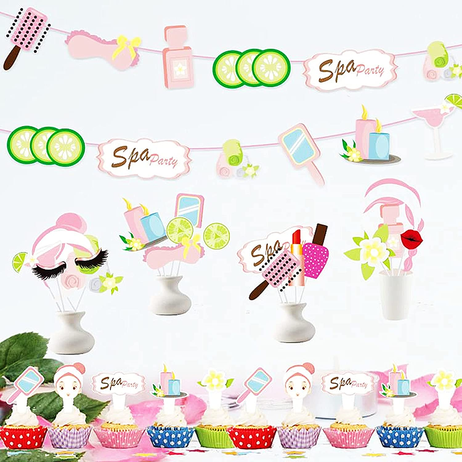 Spa Party Balloons,Red Lipstick and Kissy Lips balloon,Spa Party Garland Banner 62 PCS Spa Party Decoration Supplies Cupcake Toppers,Photo Booth Props for Spa Theme Birthday,Make Up First Birthday