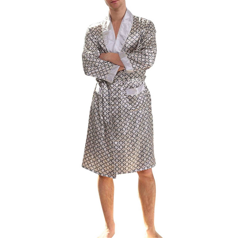 Mens Summer Thin Silk Plus Size Robe Home Clothing Silky Long Bathrobe Male Brand Sleep Robe Pajamas Homme