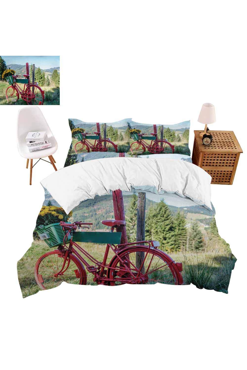 vroselv-home 4 Pieces Bedding Sets, Mountain Landscape and Bike Duvet Cover Set,Include 1 Flat Sheet 1 Duvet Cover and 2 Pillow Cases - Twin Size/NO Comforter