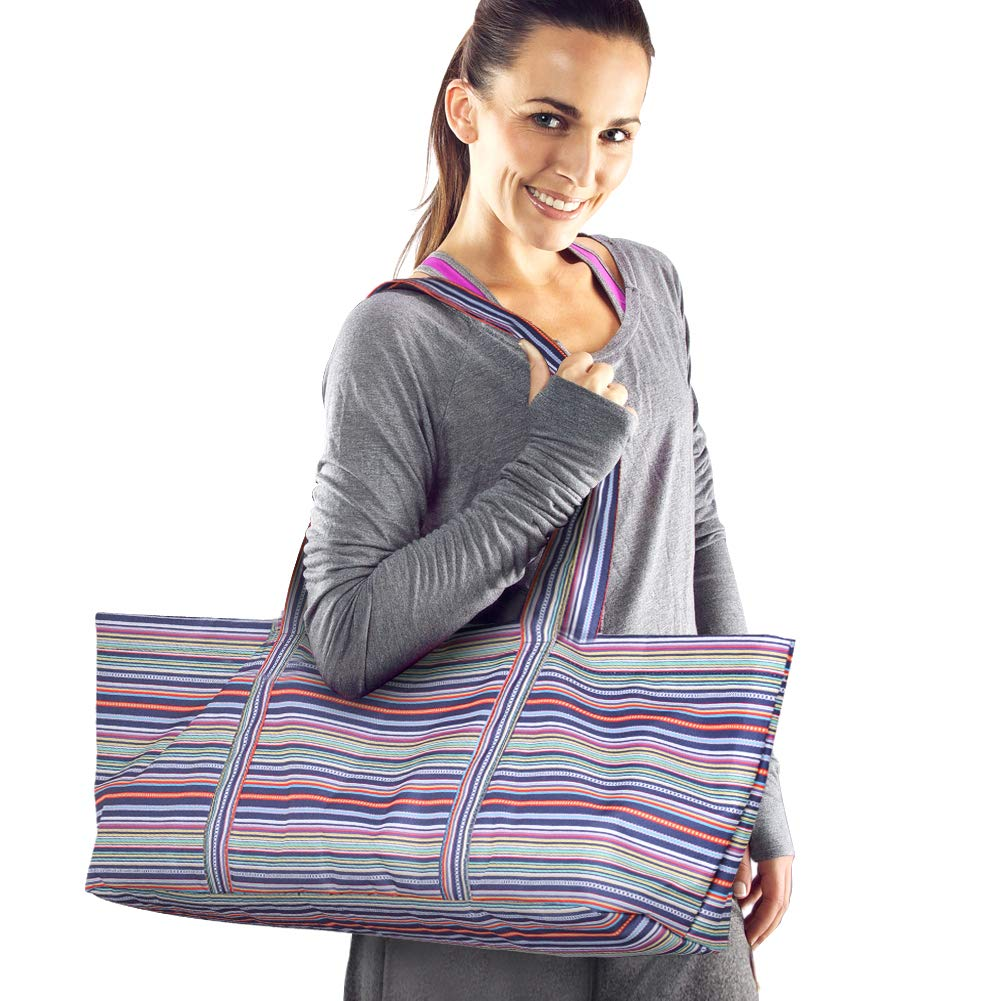 Xcellent Global Yoga Mat Bag, Large Capacity Ethnic Style All-in-one Yoga Mat Bag, Gym Yoga Mat Carrier with Zipper Side Pocket and Inner Pocket, Fits Most Size mats