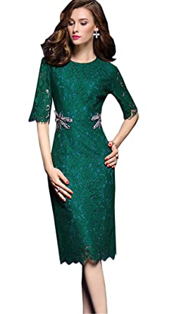 JOTHIN 2018 Damen Elegant Rundhals 1 2 Ärmel Maxikleid Casual Spitze Netz  Garn Beachwear Kleid 73a5f7bfb6