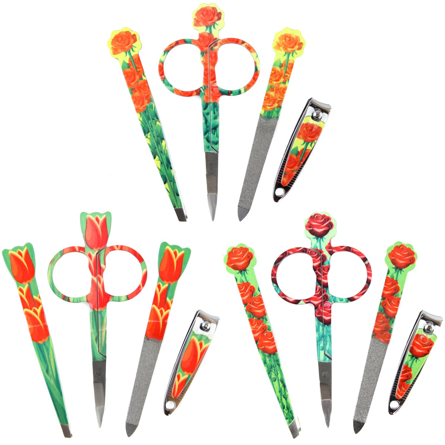 Nail Clipper Set - Best for Nail Grooming Manicure at Home or Travel Kit - 3 LOT, 4pc - Floral