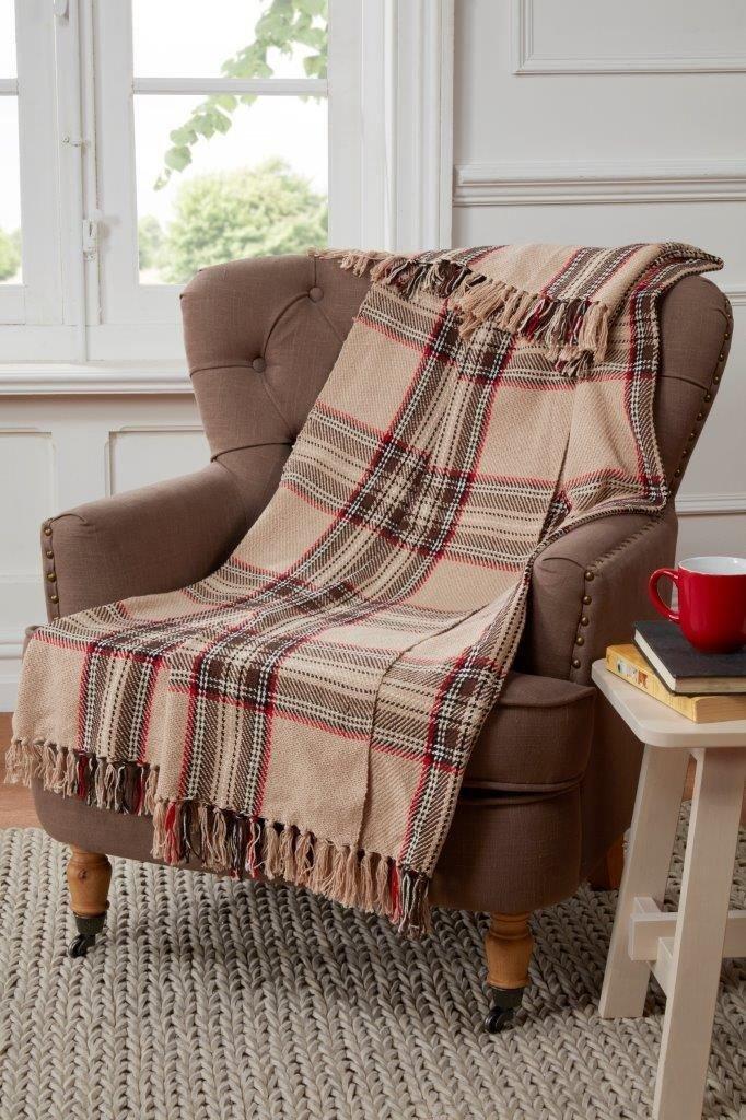 Tartan Motif à carreaux Plaid pour canapé/fauteuil/lit, coton, Beige Naturel Rapport 12398239