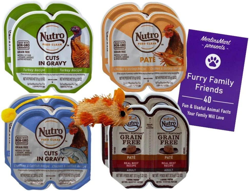 Nutro Feed Clean Grain Free Cuts in Gravy Pate Cat Food 4 Flavor 8 Can Variety | (2) Each: Beef, Turkey, Chicken Catfish, Chicken Shrimp (2.6 Ounces) Plus Catnip Toy and Fun Facts Booklet Bundle