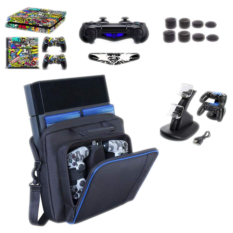 Large Travel Storage Carry Bag for PS4/Slim Protective Shoulder Bag Handbag Console for Sony Playstation 4 Console Game System Bag,T4