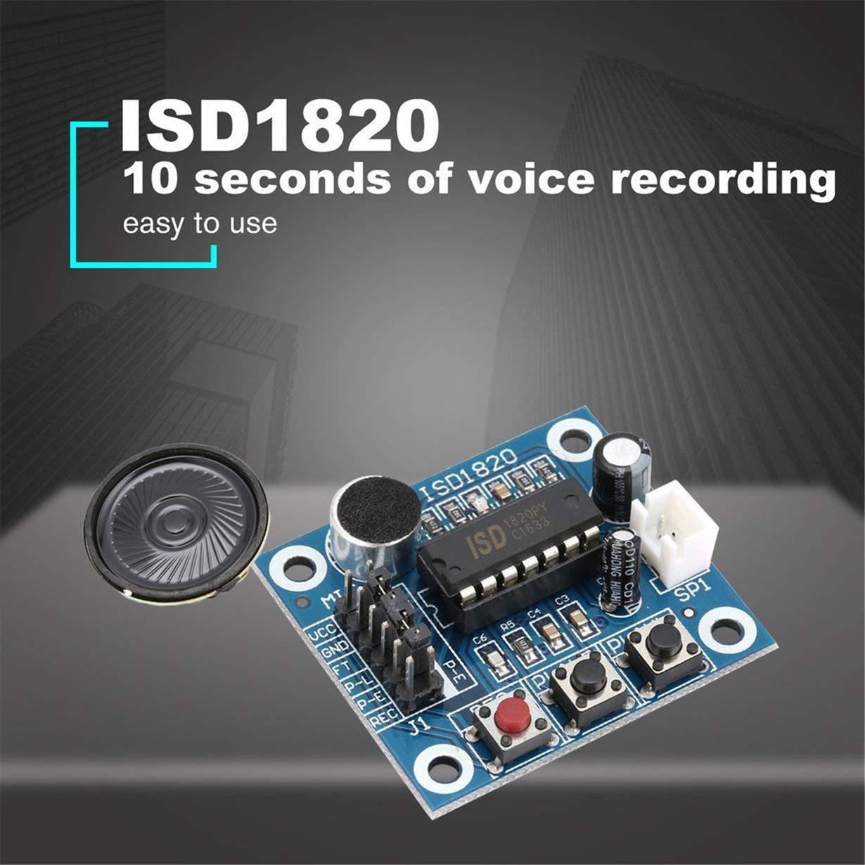 blau ISD1820 10 s Mic Voice Sound Wiedergabe Board Aufnahme Recorder Modul Kit Mikrofon Audio Lautsprecher Lautsprecher f/ür Arduino