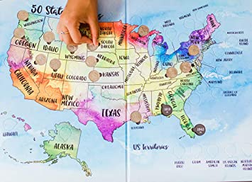 2 Book Set: US Quarters Find & Collect Maps - Includes Both 50 State  State Quarter Map on