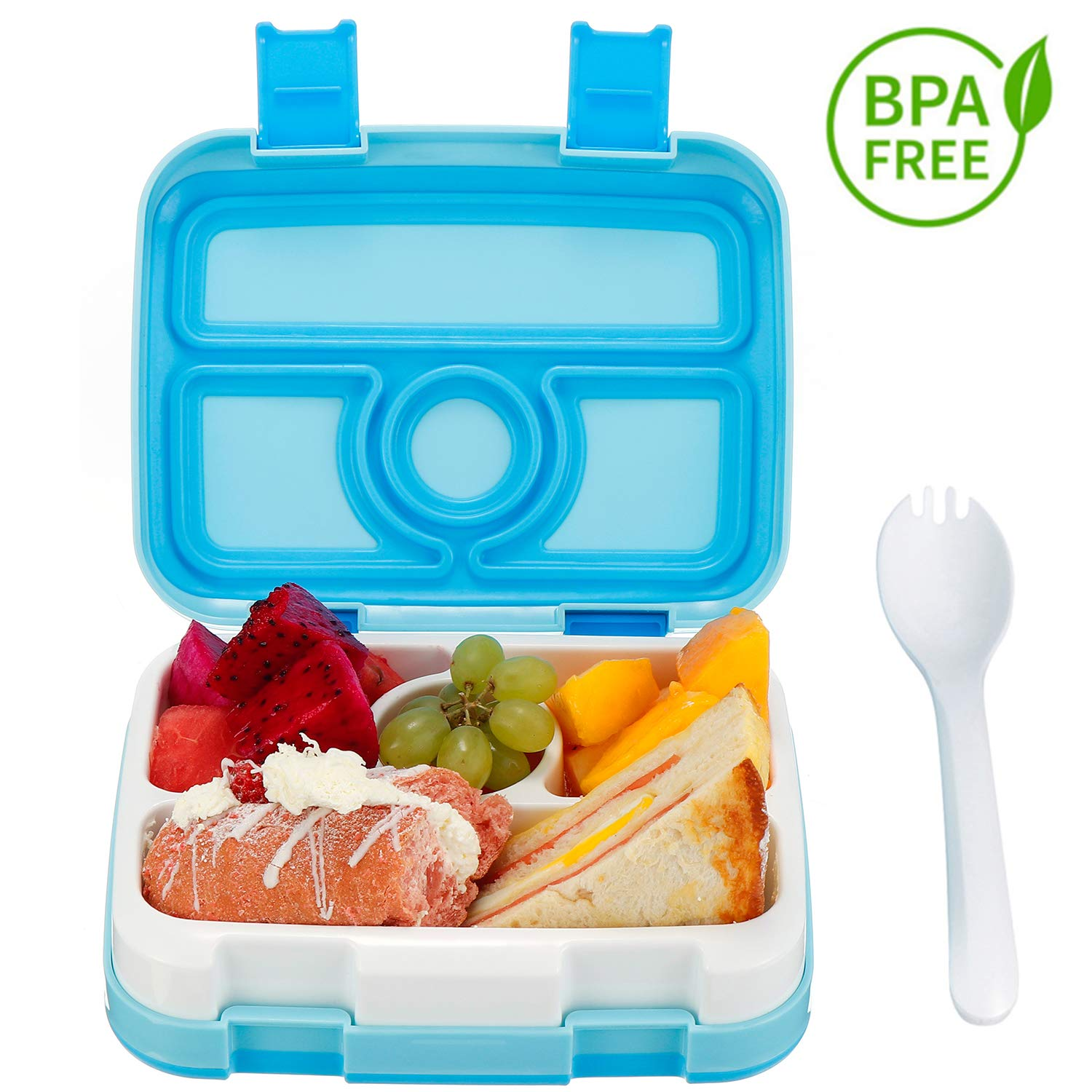 Comfook Lunch Box for Kids Blue BPA-Free Childrens Bento Box Lunch Container with Spoon 4 Compartment Leak Proof Durable for School Picnics Travel
