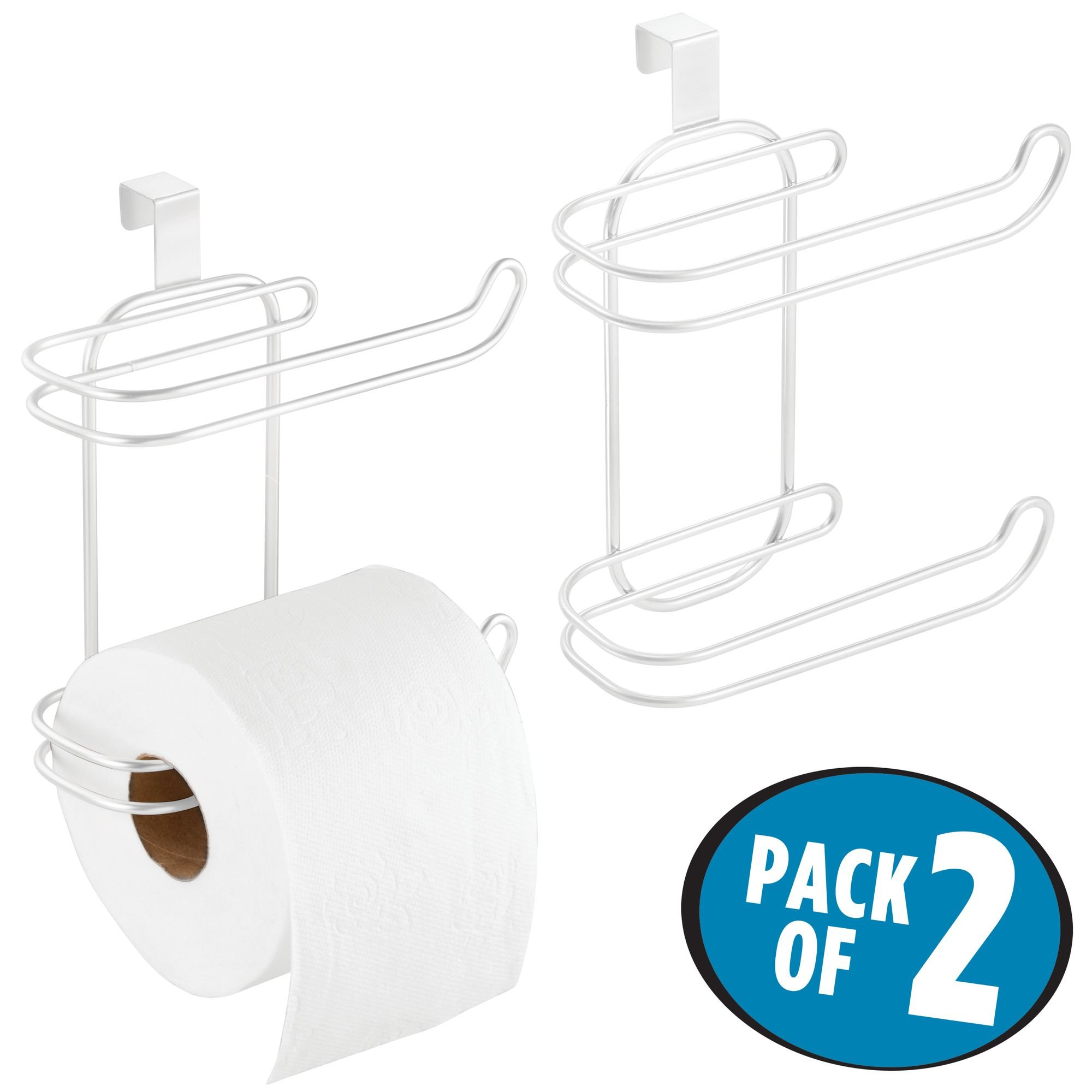 mDesign Compact Hanging Over The Tank Toilet Tissue Paper Roll Holder and Dispenser for Bathroom Storage - Holds 1 Extra Roll - Space Saving Design - Pack of 2, Durable Metal Wire in White Finish by mDesign (Image #2)