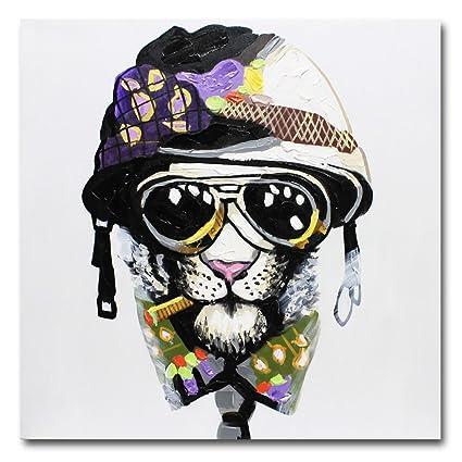 fokenzary pintada a mano pintura fumar perro con casco y gafas de sol sobre lienzo decoración