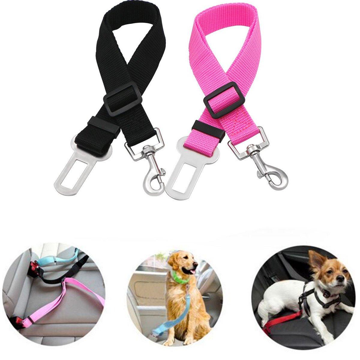 UEETEK 2pcs voiture réglable chien harnais chat Auto véhicule laisse ceinture de sécurité pour chiens Pets(Black+Pink)