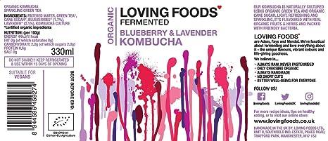 Loving Foods Orgánico Arándanos & Lavanda Kombucha (330ml ...