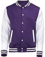 VARSITY COLLEGE JACKET (Purple / White) NEW PREMIUM Unisex American Style Letterman Blank Baseball Custom Top Mens Womens Ladies Gift Present Quality AWD - By 123t