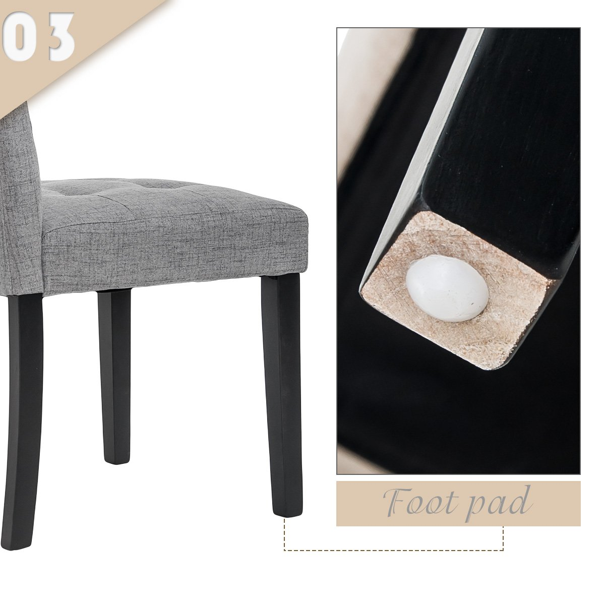 Harper&Bright Designs Dining Chairs Set of 2 Stylish Tufted Upholstered Fabric Dining Chair with Solid Wood Legs (Ashy)