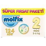 Molfix 3D Bebek Bezi Mini 2 Beden, Super Fırsat Paketi 124 Adet
