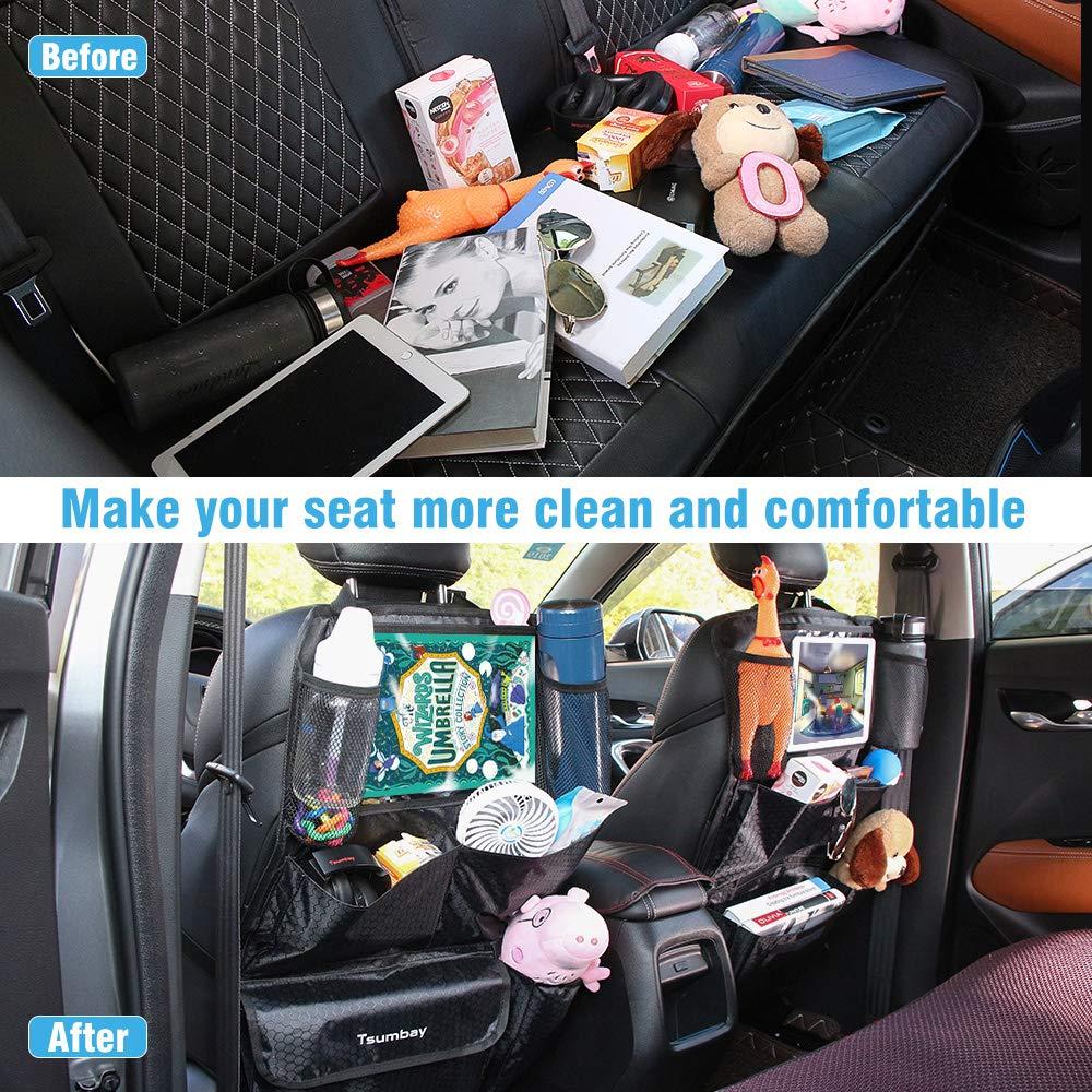 Proteggi Sedile Posteriore Impermeabile Supporto per Tablet 10 Tsumbay 2pcs Proteggi Sedili per Auto Organizer con Multi-tasca Protezione Sedili Auto Bambini