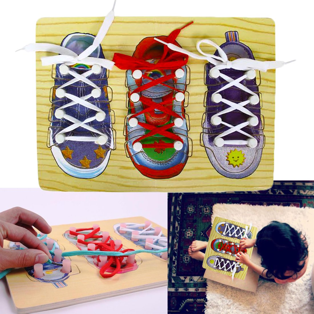 d279ac48c28c Amazon.com  DIY Shoe Lace Tying Board - Learn to Tie Your Shoe Laces Wooden  Puzzle Peg Board for Kids Ages 3 and Up