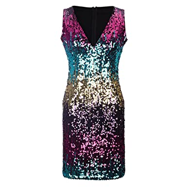 toomjqKyleAtkinonkg Christmas Tank Sequin Bodycon Sexy V-Neck Sleeveless Sheath Club Midi Dress Luxury Celebrity