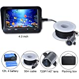 Portable Fish Finder Camera 720P 2MP Underwater Video Fishing Camera System Kit with 4.3 Inch LCD Monitor 12h Working Time 30m Cable 140 Degree Lens IR Night Version for Boat,Kayak,Ocean,Ice,Lake Fishing