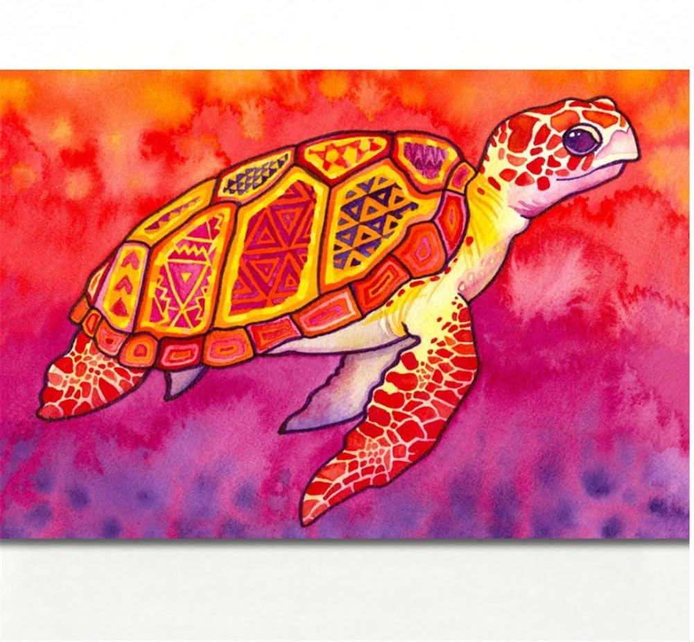 Patrones Multicolores Tortugas Marinas Acuarela Arte de la Pared Imagen Carteles Impresiones del Arte de la Lona Pinturas de Pared para la Sala Decoración 60x90cm Sin Marco