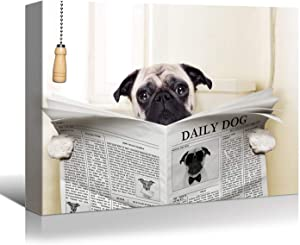 Looife Funny Animals Canvas Wall Art, 24x1.5x18 Inch Pug Dog Read Newspaper on Toilet in Bathroom Picture Giclee Prints Wall Decor, Artwork Collection, Ready to Hang