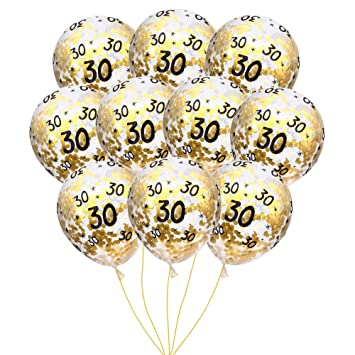 MeySimon 30th Birthday Decorations 15pcs Clear Balloons With Gold Confetti Filled Printed 30 Latex Balloon For