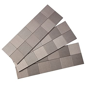Aspect Peel And Stick Backsplash 12in X 4in Square Stainless Matted Metal Tile For Kitchen And