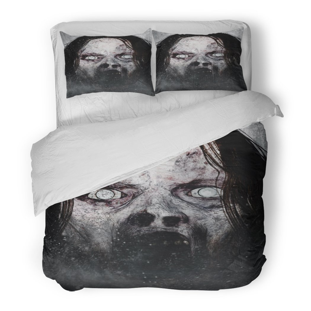 SanChic Duvet Cover Set Movie 3D of Close Up Scary Ghost Woman Horror Mixed Media Exorcist Decorative Bedding Set with 2 Pillow Shams Full/Queen Size