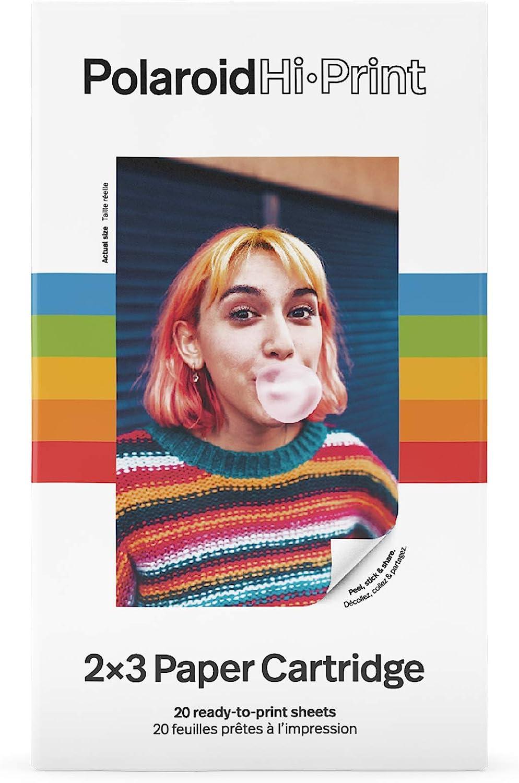 Polaroid Hi-Print Paper - 2x3 Paper Cartridge (20 Sheets) Dye-Sub (Not Zink) Cartridge